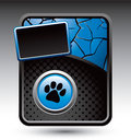 Paw print on blue cracked and black halftone ad Stock Photography