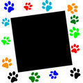 Paw print border (vector) Stock Photo