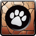 Paw print bronze cracked web button Stock Photos