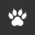 Paw print icon vector illustration isolated on black background.