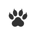 Paw print icon vector illustration isolated on white background.