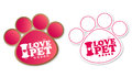 Paw print stickers with text I love pet and stars Royalty Free Stock Image