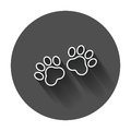 Paw print vector icon in line style. Dog or cat pawprint illustr