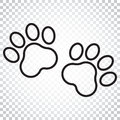Paw Print Vector Icon In Line ...