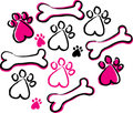 Paw prints & bones Royalty Free Stock Images
