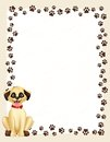 Paw prints border with dog Royalty Free Stock Photo