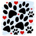 Paw prints and hearts a nice design of paws with light blue brush stroke background Royalty Free Stock Photos