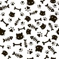 Paw seamless pattern. Animal footprints and bones. Cat dog paws wallpaper, cute puppy pet cartoon vector background