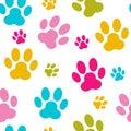 Paw seamless pattern background vector animal Imágenes de archivo libres de regalías