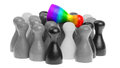 Pawn in the colors of the rainbow flag outcast Stock Photography