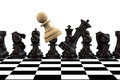 Pawn with queen fighting on a chessboard playing chess concept Stock Image