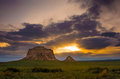 Pawnee buttes at sunrise the are two prominent located within the national grassland in weld county of northeastern colorado Stock Image