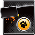 Pawprint on black halftone grungy template Stock Photo