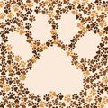 Paws animal, cat, dog background. Frame for text or image. Vector