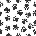 Paws print seampless pattern. Simple monochrome pets footprints. Stamp for apparel, t-shirt, textile