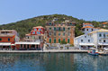 Paxos island in greece gaios port at ionian sea Stock Images
