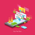Pay per click illustration of concept in flat style Royalty Free Stock Photography