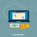 Pay per click internet advertising model when the ad is clicked modern flat design Royalty Free Stock Image