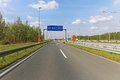 Pay toll at dual carriageway highway road Royalty Free Stock Photography