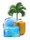 Pay for tropical holiday by credit card concept illustration Royalty Free Stock Photo