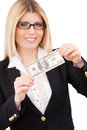 Payday confident mature businesswoman stretching out hands with one hundred dollar bill and smiling while standing isolated on Stock Photography