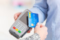 Paying with contactless credit or debit card Royalty Free Stock Photo