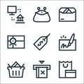 Payment line icons. linear set. quality vector line set such as shopping, no cit card, shopping basket, cheque, price tag, gift Royalty Free Stock Photo