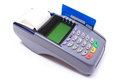 Payment terminal with credit card on white background Royalty Free Stock Photo