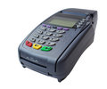 Payment terminal on white background isolated Stock Photos