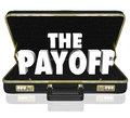Payoff d word deal benefit contract black leather briefcase the words in a to illustrate the benefits or features of a new signed Stock Image