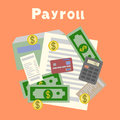 Payroll. Invoice. Financial calculations. Working process. calculator, financial reports, money, coins, pen, coffee cup