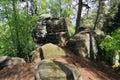 Paysage de ressort avec des roches de grès dans le paradis de bohème Photos stock