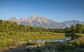 Paysage grand de parc national de teton Photographie stock libre de droits