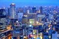 Paysage urbain d osaka la nuit Photographie stock