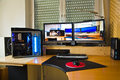 Pc personal computer with flat screens modding and picture of schwalbach germany feb modded at desk home constructed configured by Royalty Free Stock Image