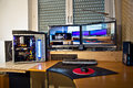 Pc personal computer with flat screens modding and picture of schwalbach germany feb modded at desk home constructed configured by Stock Photo