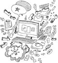 Pc sketchy doodles black and white illustration of a computer and office objects Royalty Free Stock Image