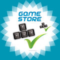 Pc and video arcade games accept icon button sign symbol logo for the game industry Royalty Free Stock Image