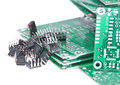 PCBs with different electronic parts Stock Photo