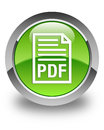 PDF document icon glossy green round button Royalty Free Stock Photo