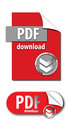 Pdf download graphic an image showing two graphics about it shows a button of bright red paper with the top right corner folded Stock Images