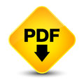 PDF download icon elegant yellow diamond button