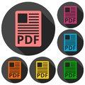 PDF file document icons set with long shadow