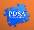 Pdsa on blue puzzle pieces business concept plan do study act written orange background Stock Photos