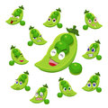 Pea cartoon with many expressions Royalty Free Stock Photography