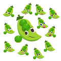 Pea cartoon with many expressions Stock Photos
