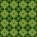 Pea geometric seamless pattern on dark green background Stock Images