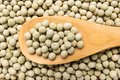 Pea. Grains in wooden spoon. Close up. Royalty Free Stock Photo