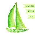 Pea Ship. Watercolor Green Pea...