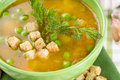 Pea soup croutons tureen Stock Photo